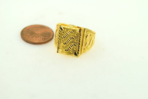 "22k Jewelry Solid Gold ELEGANT Men Ring ""RESIZABLE"" R422 size 10"