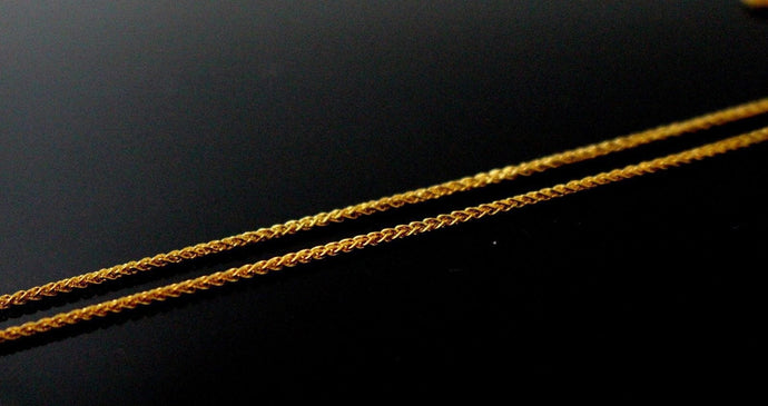 22k Chain Yellow Solid Gold Rope Necklace Simple Short Design 16 inch c713