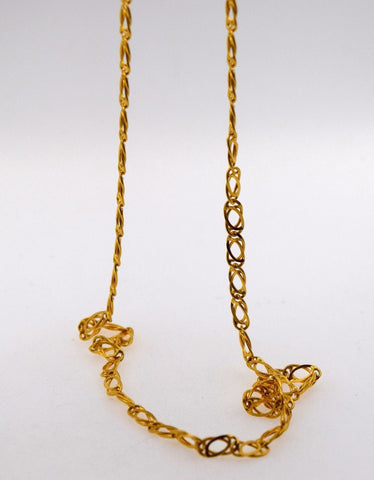 "22k Jewelry Yellow Gold Rope Chain Solid Necklace Modern Curb Design 22"" c366 