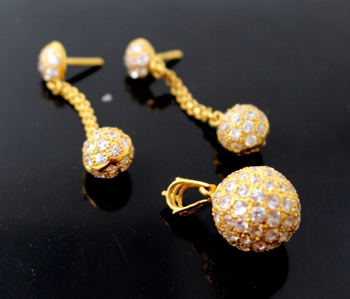 22k 22ct Solid Gold GORGEOUS ZIRCONIA BALL DESIGNER DROP FANCY Pendant Set p674 | Royal Dubai Jewellers