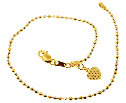 22k 22ct Solid Gold ELEGANT Ladies ANKLET CHARM ball RHODIUM Two Tone B785 | Royal Dubai Jewellers