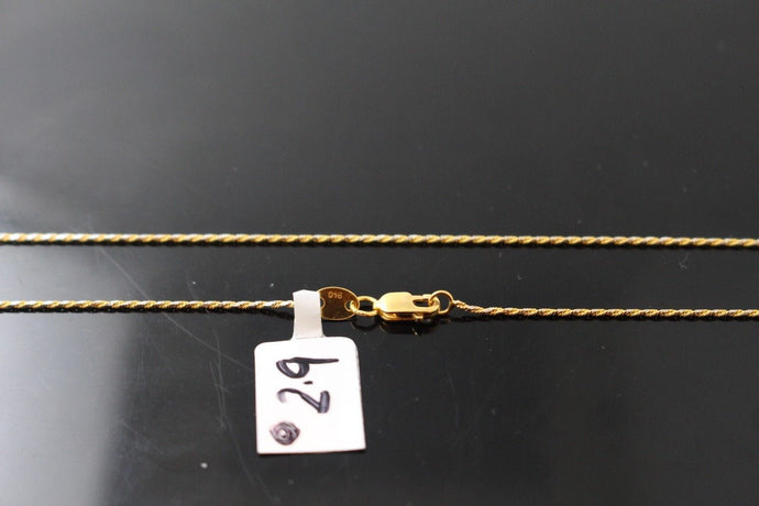 22k Chain Yellow Solid Gold Rope Necklace Simple Two Tone Design 16 inch c426