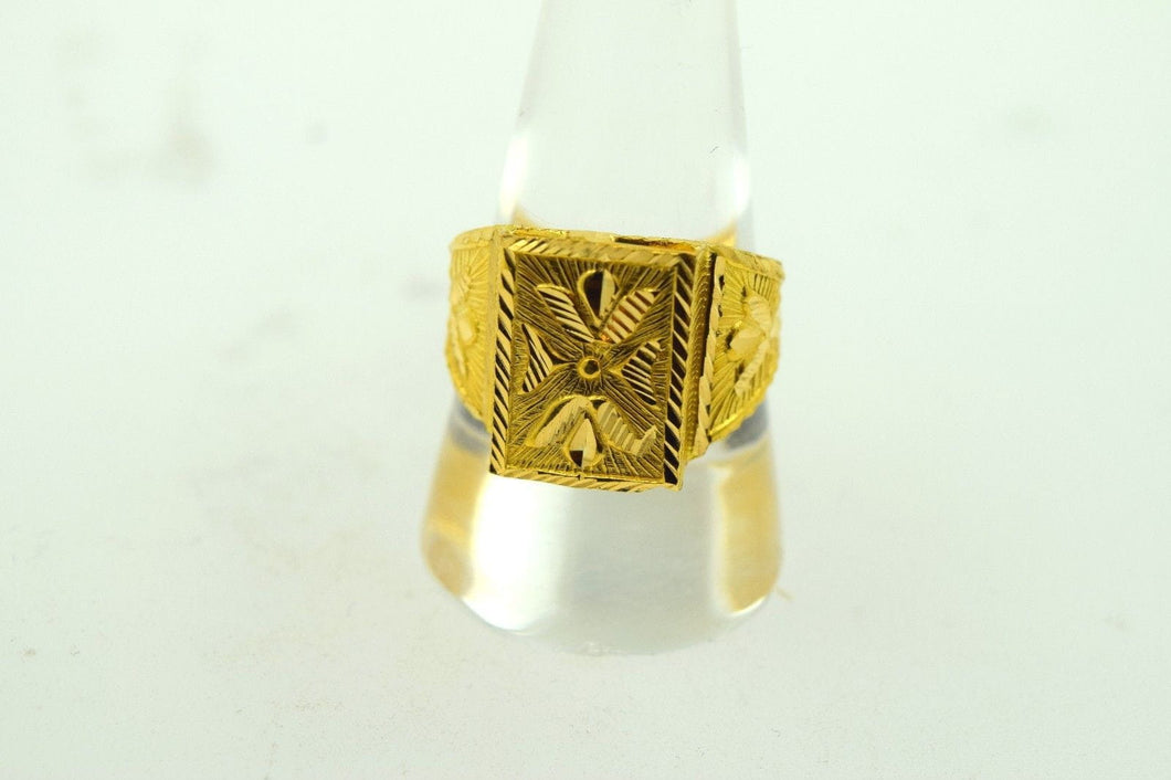 22k Solid Gold ELEGANT STONE Ring Modern Design