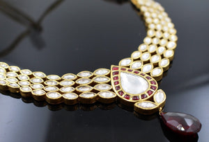 22k 22ct Solid Gold Elegant Traditional Kundan Set Necklace with STONE KS119 | Royal Dubai Jewellers