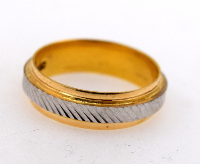 22k 22ct Solid Gold RHODIUM LASER CUT MENS Ring BAND