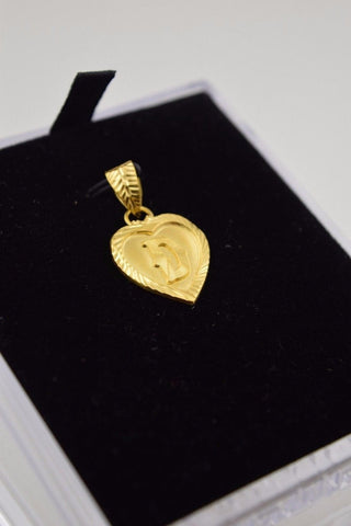 22k 22ct Solid Gold Heart Shape Pendent D letter p297 | Royal Dubai Jewellers