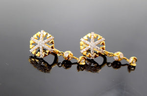 22k 22ct Solid Gold ELEGANT Charm Earring Clip-On Floral Design with stone e5243