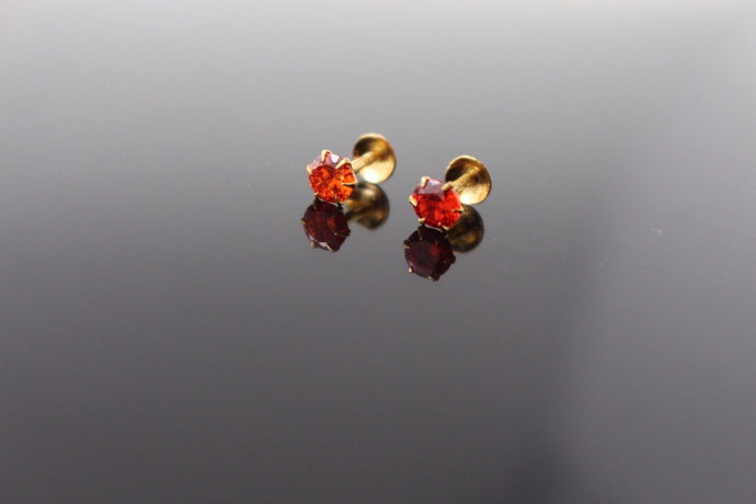 22k 22ct Solid Gold ELEGANT Charm Earring Simple Stud Orange Stone Design e5206
