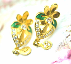22k 22ct Solid Gold ELEGANT STONE FLOWER EARRINGS STUD FREE BOX E260 | Royal Dubai Jewellers