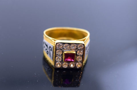 "22k 22ct Solid Gold RUBY STONE MEN Ring with FREE BOX ""RESIZABLE"" R262"
