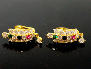 22k 22ct Solid Gold ELEGANT TOPS EARRING Simple Floral Tri Stone Design E5594 | Royal Dubai Jewellers