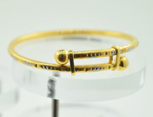 "22k 22ct Solid Gold ELEGANT PLAIN BABY CHILDREN BANGLE BRACELET""ADJUSTABLE"" CB27"