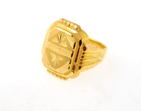 "22k 22ct Solid Gold Elegant MEN Ring Rectangular Design Size 8 ""RESIZABLE"" R1211"