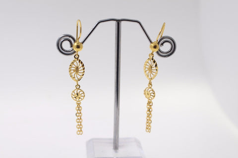 22k 22ct Solid Gold ELEGANT EARRINGS Floral Dangle Design E5067