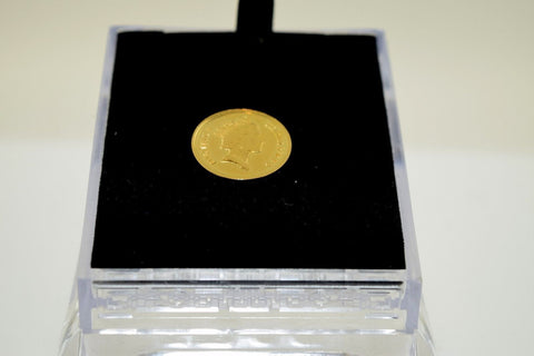 22K Yellow Solid Gold Coin Handmade Queen Elizabeth the 2 second Glossy Finish