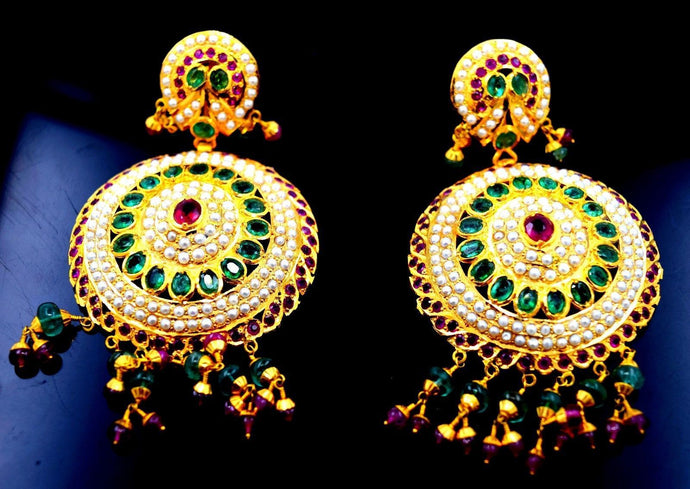 22k Solid Gold Chandeliers LONG 2 Tier EARRINGS Dangle Ruby Pearl Emerald E1038