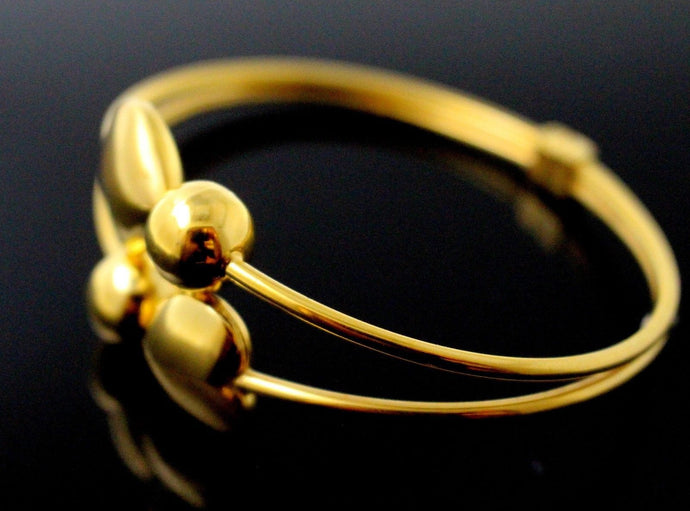 21k 21ct Gold BEAUTIFUL LADIES HEART 1 PC BANGLE BRACELET B834