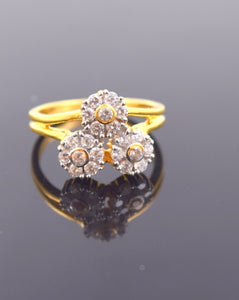 "22k 22ct Solid Gold ZIRCONIA DESIGNER BAND WOMEN Ring ""RESIZABLE"" size6.4 r770"