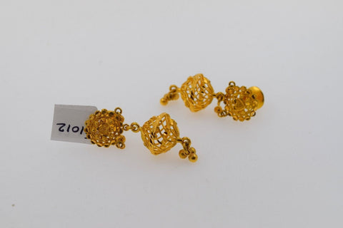 22k Solid Gold ELEGANT LONG JHUMKE EARRINGS HANGINGS ANTIQUE DESIGN E1012