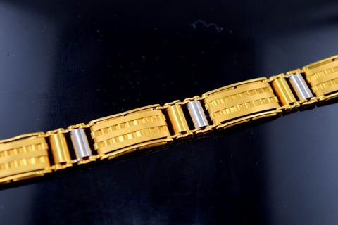 22k 22ctSolid Gold FANCY ITALIAN DESIGNER MEN BRACELET RHODIUM LENGHT 8.2in B576