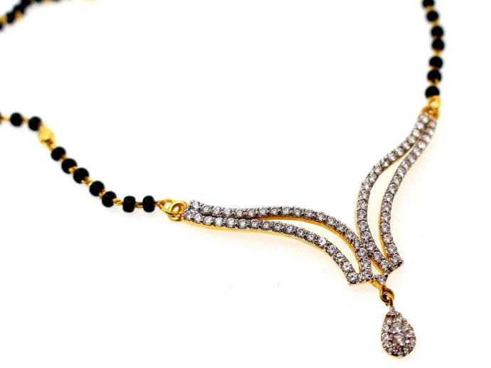 22k 22ct Yellow Solid Gold Chain BLACK BEADED MANGALSUTRA CHAIN NECKLACE c863