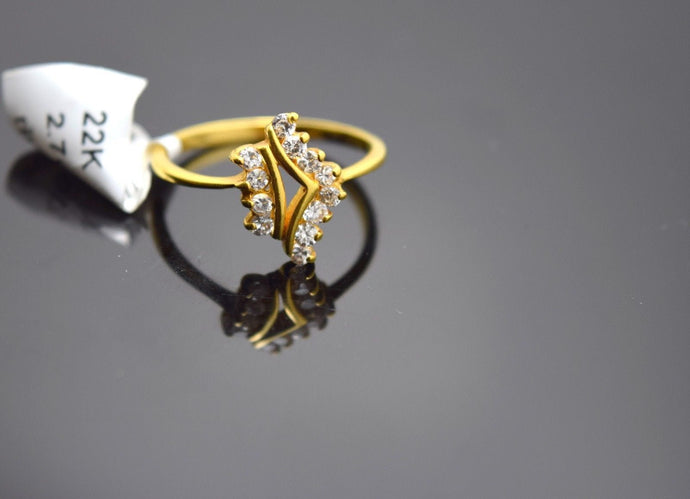 22k Solid Gold ELEGANT Stone Ring BAND with stone