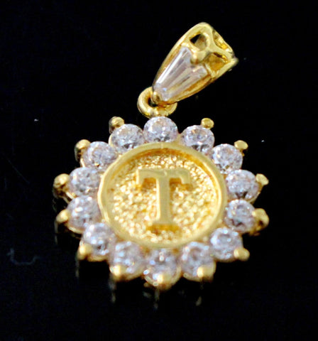 22k 22ct Solid Gold Round Shape Pendent T letter with Stone alphabet p1337 | Royal Dubai Jewellers