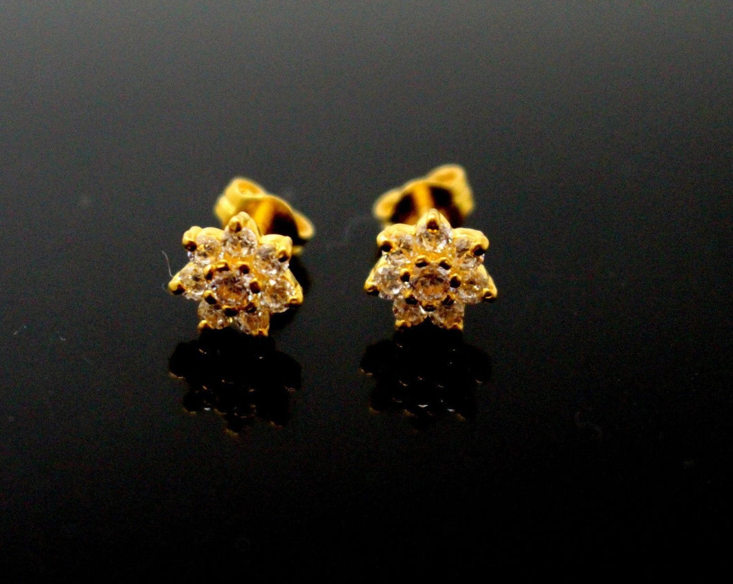 22k 22ct Solid Gold ELEGANT TOPS EARRING Simple Floral with Stone Design E5581 | Royal Dubai Jewellers