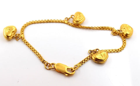 22k 22ct Jewelry Solid Gold ELEGANT HEART DANGLING Bracelet Size 7in B778