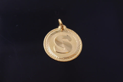 "22k 22ct Solid Gold ""S"" letter Round Charm Pendant p783"