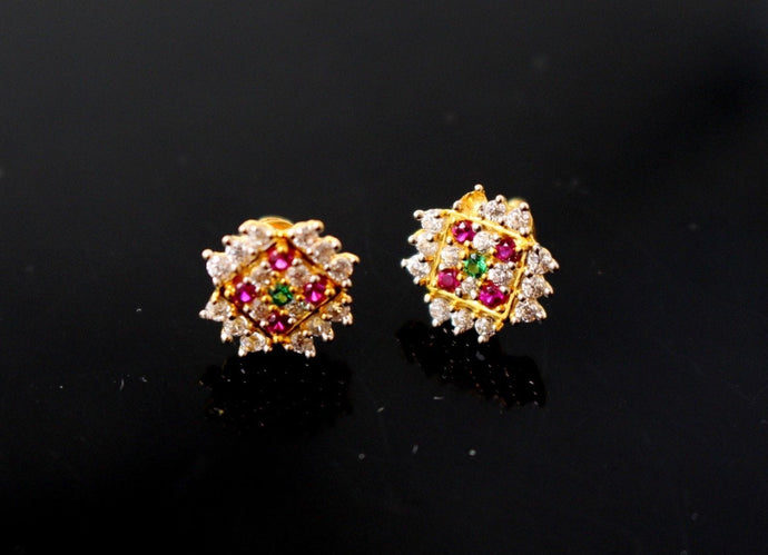 22k 22ct Solid Gold ELEGANT ROUND SHAPE Simple Floral Stone STUD EARRING e5270