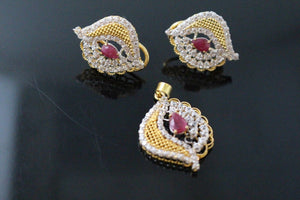 22k 22ct Solid Gold ELEGANT PENDANT SET Natural Ruby Stone Floral Design p1298