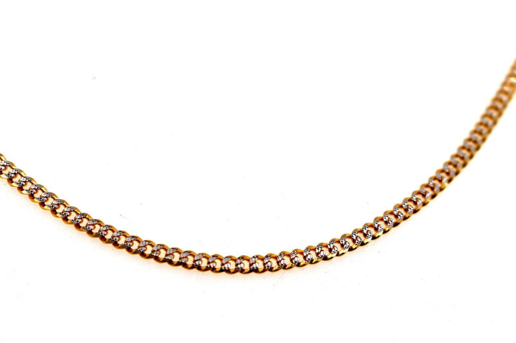 22k 22ct Yellow Solid Gold GORGEOUS CURB LINK TWO TONE CHAIN NECKLACE c939 | Royal Dubai Jewellers