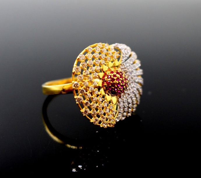 22k 22ct Solid Gold Elegant ladies ruby Designer ring band