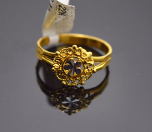 "22k Solid Gold ELEGANT FLOWER Ring BAND ""RESIZABLE"" R507"