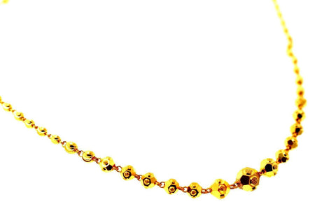 22k Yellow Solid Gold Chain Necklace Diamond Cut Ball Design Length 26 inch c833