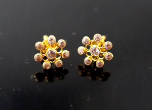 22k 22ct Solid Gold ELEGANT ROUND SHAPE Simple Floral Stone STUD EARRING e5269