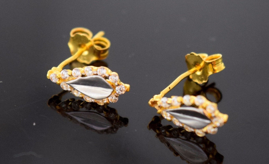 22k 22ct Solid YELLOW GOLD RHODIUM DESIGNER STUD EARRINGS E2030 | Royal Dubai Jewellers