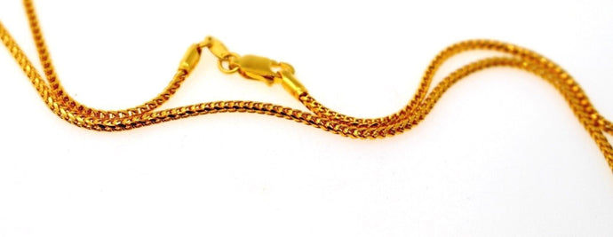 22k 22CT Yellow Solid Gold Elegant Designer Box Thin CHAIN 18in C947