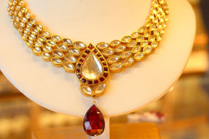 22k 22ct Solid Gold Elegant Traditional Kundan Set Necklace with STONE KS119