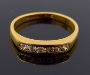 "22k 22ct Solid Gold ELEGANT WOMEN ZIRCONIA SINGLE BAND Ring ""RESIZABLE"" r710"