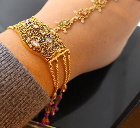 22k 22ct Solid Gold ELEGANT Charm Bracelet and Ring Combo Length 7.0 Inch B692 - Royal Dubai Jewellers