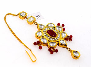 22k 22ct Yellow Gold ELEGANT KUNDAN RUBY STONE MANG TIKKA TIKA BRIDAL WOMAN T7