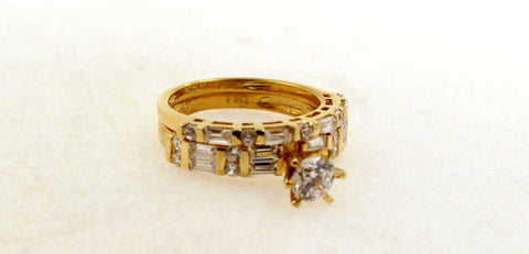 "22k 22ct Solid Gold Elegant Ring Set Solitaire Design Size 8.0 ""RESIZABLE"" R1384"