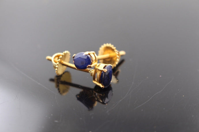 22k Jewelry Solid Gold ELEGANT Blue Sapphire Stone Earring e2145