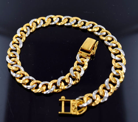 22k 22ct Solid Gold DESIGNER MEN CURB LINK RHODIUM BRACELET LENGHT 8.4in B587