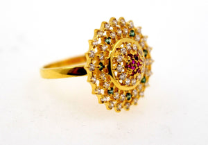 "22k 22ct Solid Gold emerald ruby flower Designer ring band ""RESIZABLE"" R1618 
