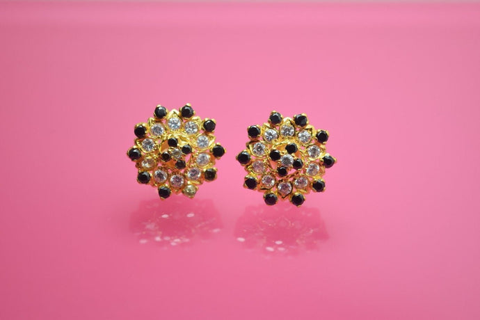 22k Solid gold ELEGANT ROUND BLACK ONYX STONE STUD EARRINGS E52