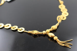 22k 22ct Solid Gold Simple Light Chain Set Modern Beads Design cs108 | Royal Dubai Jewellers