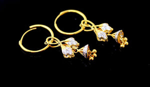 22k 22ct Solid Gold ELEGANT Large Hoops Earring Stone Modern Design e5186